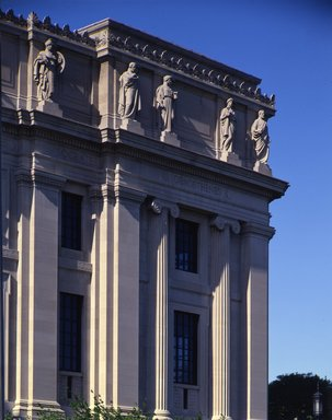 "<em>""Brooklyn Museum: exterior. View of the West Wing from the entrance pathway, showing sculptures (allegorical figures) along Eastern Parkway façade, 1987.""</em>, 1987. Color transparency 4x5in, 4 x 5in (10.2 x 12.7 cm). Brooklyn Museum, Museum building. (Photo: Brooklyn Museum, S06_BEEi133.jpg"