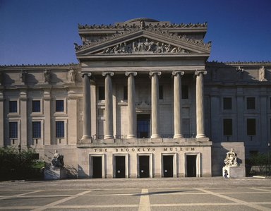 "<em>""Brooklyn Museum: exterior. View of the Central section and part of the East and West Wings from the entrance pathway, 1987.""</em>, 1987. Color transparency 4x5in, 4 x 5in (10.2 x 12.7 cm). Brooklyn Museum, Museum building. (Photo: Brooklyn Museum, S06_BEEi135_SL1.jpg"