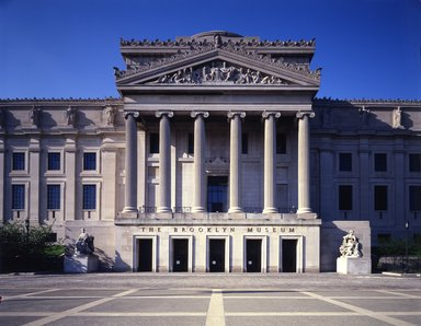 "<em>""Brooklyn Museum: exterior. View of the Central section and part of the East and West Wings from the entrance pathway, 1987.""</em>, 1987. Color transparency 4x5in, 4 x 5in (10.2 x 12.7 cm). Brooklyn Museum, Museum building. (Photo: Brooklyn Museum, S06_BEEi136.jpg"