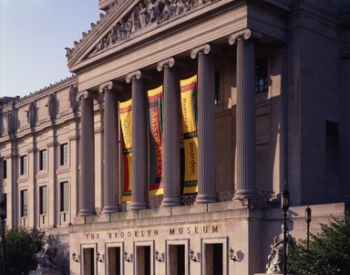 "<em>""Brooklyn Museum: exterior. View of the Central section from the northwest, showing Gottlieb, Arts of Africa and Bearden banners, 1995.""</em>, 1995. Color transparency 4x5in, 4 x 5in (10.2 x 12.7 cm). Brooklyn Museum, Museum building. (Photo: Brooklyn Museum, S06_BEEi147.jpg"