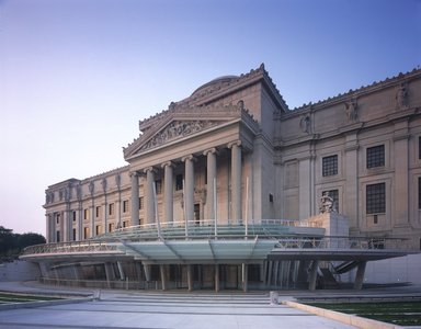 "<em>""Brooklyn Museum: exterior. View of the Eastern Parkway façade from the northwest, showing glass canopy and entrance, 2004.""</em>, 2004. Color transparency 4x5in, 4 x 5in (10.2 x 12.7 cm). Brooklyn Museum, Museum building. (Photo: Brooklyn Museum, S06_BEEi150.jpg"