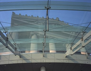 "<em>""Brooklyn Museum: exterior. View of the Central portico seen through glass canopy from the entrance space, 2004.""</em>, 2004. Color transparency 4x5in, 4 x 5in (10.2 x 12.7 cm). Brooklyn Museum, Museum building. (Photo: Brooklyn Museum, S06_BEEi152.jpg"