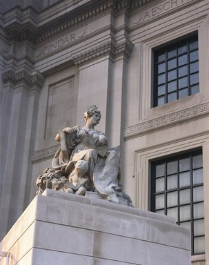 "<em>""Brooklyn Museum: exterior. View of Daniel Chester French's Brooklyn statue, 2004.""</em>, 2004. Color transparency 4x5in, 4 x 5in (10.2 x 12.7 cm). Brooklyn Museum, Museum building. (Photo: Brooklyn Museum, S06_BEEi155.jpg"