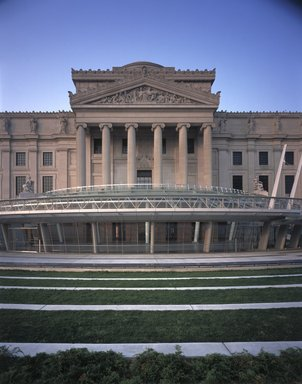 "<em>""Brooklyn Museum: exterior. View of Eastern Parkway façade from grass terraces, showing Central section, glass canopy and entrance, 2004.""</em>, 2004. Color transparency 4x5in, 4 x 5in (10.2 x 12.7 cm). Brooklyn Museum, Museum building. (Photo: Brooklyn Museum, S06_BEEi156.jpg"