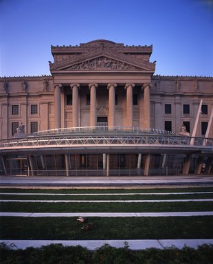 "<em>""Brooklyn Museum: exterior. View of Eastern Parkway façade from grass terraces, showing Central section and ducks on the grass terrace, 2004.""</em>, 2004. Color transparency 4x5in, 4 x 5in (10.2 x 12.7 cm). Brooklyn Museum, Museum building. (Photo: Brooklyn Museum, S06_BEEi158.jpg"