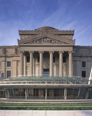 "<em>""Brooklyn Museum: exterior. View of Eastern Parkway façade from the plaza, showing Central section, glass canopy and entrance, 2004.""</em>, 2004. Color transparency 4x5in, 4 x 5in (10.2 x 12.7 cm). Brooklyn Museum, Museum building. (Photo: Brooklyn Museum, S06_BEEi159.jpg"