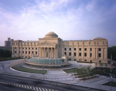 "<em>""Brooklyn Museum: exterior. View of Eastern Parkway façade from the northwest, showing glass canopy, entrance, plaza, and Eastern Parkway, 2004.""</em>, 2004. Color transparency 4x5in, 4 x 5in (10.2 x 12.7 cm). Brooklyn Museum, Museum building. (Photo: Brooklyn Museum, S06_BEEi161.jpg"