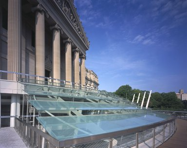 "<em>""Brooklyn Museum: exterior. View of Eastern Parkway façade from walkway, showing glass canopy, 2004.""</em>, 2004. Color transparency 4x5in, 4 x 5in (10.2 x 12.7 cm). Brooklyn Museum, Museum building. (Photo: Brooklyn Museum, S06_BEEi164.jpg"
