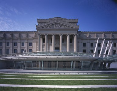 "<em>""Brooklyn Museum: exterior. View of entrance pavilion from grass terraces, showing Central section, part of the East and West Wings, and glass canopy, 2004.""</em>, 2004. Color transparency 4x5in, 4 x 5in (10.2 x 12.7 cm). Brooklyn Museum, Museum building. (Photo: Brooklyn Museum, S06_BEEi167.jpg"