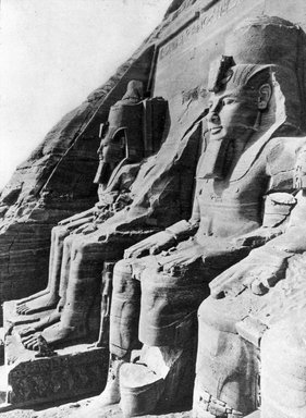 "<em>""Views, Objects: Egypt. Abu Simbel. View 01: Façade, Abu Simbel. Dy. 19.""</em>. Lantern slide 3.25x4in, 3.25 x 4 in. Brooklyn Museum, lantern slides. (S10_08_Egypt_AbuSimbel01.jpg"