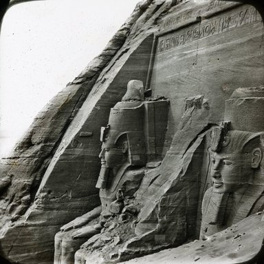 "<em>""Views, Objects: Egypt. Abu Simbel. View 03: Façade du grand temple d'Abou-Simbel. Nubie.""</em>. Lantern slide 3.25x4in, 3.25 x 4 in. Brooklyn Museum, lantern slides. (S10_08_Egypt_AbuSimbel03.jpg"