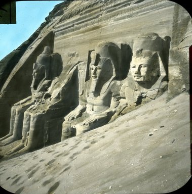 "<em>""Views, Objects: Egypt. Abu Simbel. View 05: Egypt. Abu Simbel.""</em>. Lantern slide 3.25x4in, 3.25 x 4 in. Brooklyn Museum, lantern slides. (S10_08_Egypt_AbuSimbel05.jpg"