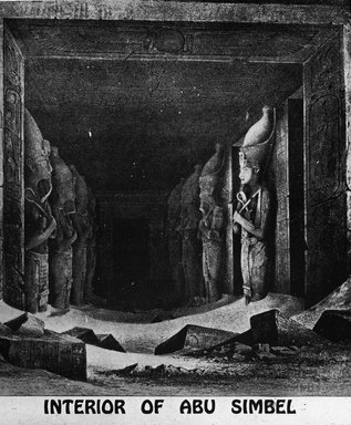 "<em>""Views, Objects: Egypt. Abu Simbel. View 06: Interior of Abu Simbel.""</em>. Lantern slide 3.25x4in, 3.25 x 4 in. Brooklyn Museum, lantern slides. (Photo: Kay C. Lenskold, Floral Park, New York, S10_08_Egypt_AbuSimbel06.jpg"