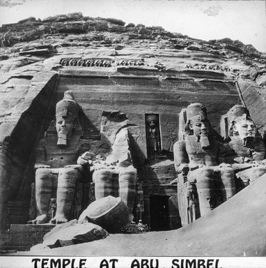 "<em>""Views, Objects: Egypt. Abu Simbel. View 08: Temple at Abu Simbel.""</em>. Lantern slide 3.25x4in, 3.25 x 4 in. Brooklyn Museum, lantern slides. (Photo: Kay C. Lenskold, Floral Park, New York, S10_08_Egypt_AbuSimbel08.jpg"