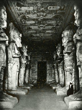 "<em>""Views, Objects: Egypt. Abu Simbel. View 13: Interior of Great Hall, Abu Simbel. Rock cut. Dy 19.""</em>. Lantern slide 3.25x4in, 3.25 x 4 in. Brooklyn Museum, lantern slides. (S10_08_Egypt_AbuSimbel13.jpg"