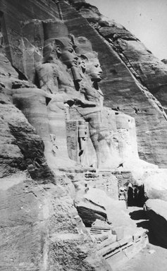 "<em>""Views, Objects: Egypt. Abu Simbel. View 14: North Colossi, Temple of Ramses II at Abu Simbel. 19th Dy.""</em>. Lantern slide 3.25x4in, 3.25 x 4 in. Brooklyn Museum, lantern slides. (S10_08_Egypt_AbuSimbel14.jpg"