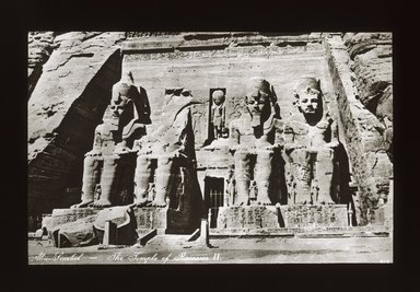 "<em>""Views, Objects: Egypt. Abu Simbel. View 15: Façade, Temple of Ramses II at Abu Simbel. 19th Dy.""</em>. Lantern slide 3.25x4in, 3.25 x 4 in. Brooklyn Museum, lantern slides. (S10_08_Egypt_AbuSimbel15_SL1.jpg"