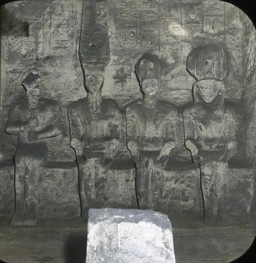 "<em>""Views, Objects: Egypt. Abu Simbel. View 16: Egypt. Abu Simbel. Statues in the sanctuary. Kings.""</em>. Lantern slide 3.25x4in, 3.25 x 4 in. Brooklyn Museum, lantern slides. (S10_08_Egypt_AbuSimbel16.jpg"