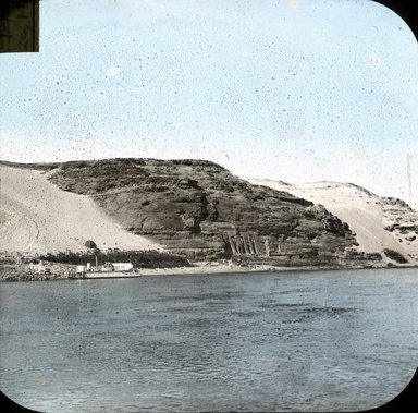 "<em>""Views, Objects: Egypt. Abu Simbel. View 18: Egypt. Abu Simbel. Temple of Ramses II. View from the Nile.""</em>. Lantern slide 3.25x4in, 3.25 x 4 in. Brooklyn Museum, lantern slides. (S10_08_Egypt_AbuSimbel18.jpg"