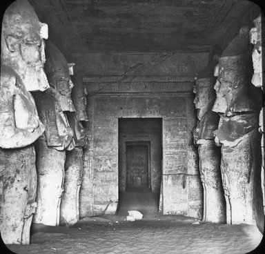 "<em>""Views, Objects: Egypt. Abu Simbel. View 19: Egypt. Temple of Ramses II. Abu Simbel. 19th Dynasty. Temple of Absamboul.""</em>. Lantern slide 3.25x4in, 3.25 x 4 in. Brooklyn Museum, lantern slides. (Photo: J. Levy & Cie, Paris, S10_08_Egypt_AbuSimbel19.jpg"