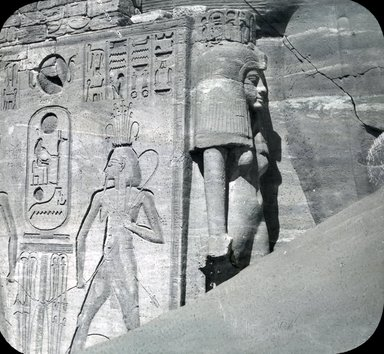 "<em>""Views, Objects: Egypt. Abu Simbel. View 20: Egypt. Aboo Simbel - Inscription at Door. Dy 19?""</em>. Lantern slide 3.25x4in, 3.25 x 4 in. Brooklyn Museum, lantern slides. (S10_08_Egypt_AbuSimbel20.jpg"