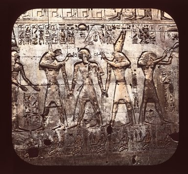 "<em>""Views, Objects: Egypt. Abydos. View 01: Egypt - Memnonium of Seti Wall Inscriptions, Abydos.""</em>. Lantern slide 3.25x4in, 3.25 x 4 in. Brooklyn Museum, lantern slides. (Photo: T. H. McAllister, New York, S10_08_Egypt_Abydos01_SL1.jpg"