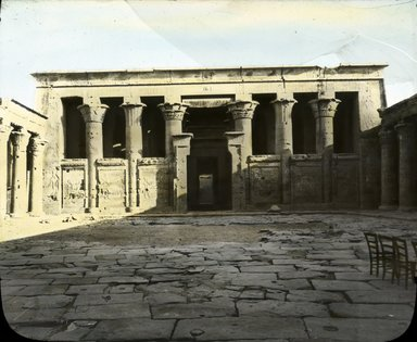 "<em>""Views, Objects: Egypt. Edfu. View 03: Egypt - North side of court of Temple of Edfu.""</em>. Lantern slide 3.25x4in, 3.25 x 4 in. Brooklyn Museum, lantern slides. (S10_08_Egypt_Edfu03.jpg"