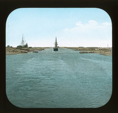 "<em>""Views, Objects: Egypt. General Views; People. View 003: Egypt - Suez Canal.""</em>. Lantern slide 3.25x4in, 3.25 x 4 in. Brooklyn Museum, lantern slides. (Photo: T. H. McAllister, New York, S10_08_Egypt_GeneralViews_People003_SL1.jpg"