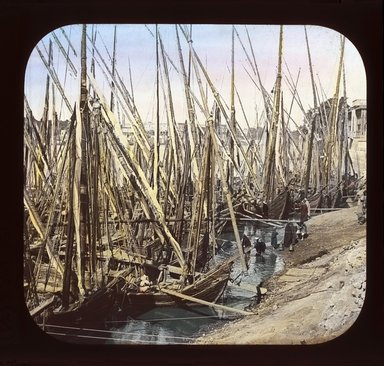 "<em>""Views, Objects: Egypt. General Views; People. View 004: Egypt - Fleet of Grain Boats, Cairo.""</em>. Lantern slide 3.25x4in, 3.25 x 4 in. Brooklyn Museum, lantern slides. (Photo: T. H. McAllister, New York, S10_08_Egypt_GeneralViews_People004_SL1.jpg"