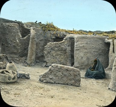 "<em>""Views, Objects: Egypt. General Views; People. View 014: Egypt - Houses of Soudanese Soldiers, Assuan.""</em>. Lantern slide 3.25x4in, 3.25 x 4 in. Brooklyn Museum, lantern slides. (S10_08_Egypt_GeneralViews_People014.jpg"