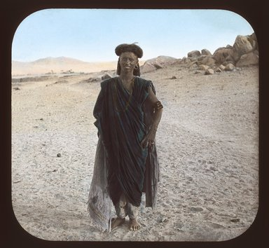 "<em>""Views, Objects: Egypt. General Views; People. View 018: Egypt - Bisharin Man, Assuan.""</em>. Lantern slide 3.25x4in, 3.25 x 4 in. Brooklyn Museum, lantern slides. (S10_08_Egypt_GeneralViews_People018_SL1.jpg"