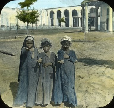 "<em>""Views, Objects: Egypt. General Views; People. View 022: Egypt - Egyptian Girls, Old Cairo.""</em>. Lantern slide 3.25x4in, 3.25 x 4 in. Brooklyn Museum, lantern slides. (S10_08_Egypt_GeneralViews_People022.jpg"