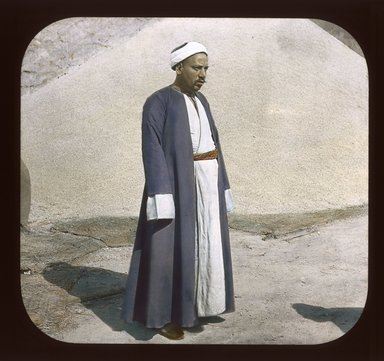 "<em>""Views, Objects: Egypt. General Views; People. View 023: Egypt - Grain Merchant, Cairo.""</em>. Lantern slide 3.25x4in, 3.25 x 4 in. Brooklyn Museum, lantern slides. (S10_08_Egypt_GeneralViews_People023_SL1.jpg"