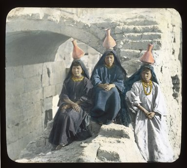 "<em>""Views, Objects: Egypt. General Views; People. View 030: Egypt - Arab water-carrier girls.""</em>. Lantern slide 3.25x4in, 3.25 x 4 in. Brooklyn Museum, lantern slides. (S10_08_Egypt_GeneralViews_People030_SL1.jpg"