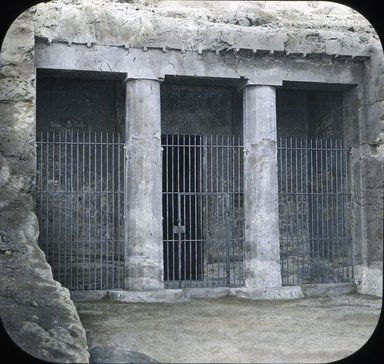 "<em>""Views, Objects: Egypt. General Views; People. View 031: Egyptian, Ancient. Exterior of tomb. Benihassan.""</em>. Lantern slide 3.25x4in, 3.25 x 4 in. Brooklyn Museum, lantern slides. (S10_08_Egypt_GeneralViews_People031.jpg"