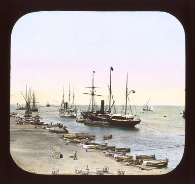 "<em>""Views, Objects: Egypt. General Views; People. View 032: Egypt - Looking out to Sea, Port Said.""</em>. Lantern slide 3.25x4in, 3.25 x 4 in. Brooklyn Museum, lantern slides. (S10_08_Egypt_GeneralViews_People032_SL1.jpg"