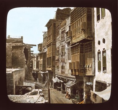 """<em>""""Views, Objects: Egypt. General Views; People. View 035: Egyptian - Rue au Caire.""""</em>. Lantern slide 3.25x4in, 3.25 x 4 in. Brooklyn Museum, lantern slides. (Photo: T. H. McAllister, New York, S10_08_Egypt_GeneralViews_People035_SL1.jpg"""
