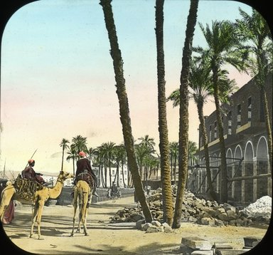 "<em>""Views, Objects: Egypt. General Views; People. View 040: Egypt - New Hotel, Assuan.""</em>. Lantern slide 3.25x4in, 3.25 x 4 in. Brooklyn Museum, lantern slides. (Photo: T. H. McAllister, New York, S10_08_Egypt_GeneralViews_People040.jpg"