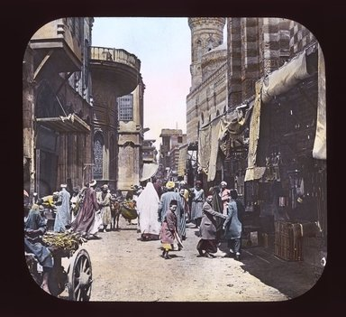 "<em>""Views, Objects: Egypt. General Views; People. View 042: Egypt - Street in Native Quarter, Cairo.""</em>. Lantern slide 3.25x4in, 3.25 x 4 in. Brooklyn Museum, lantern slides. (Photo: T. H. McAllister, New York, S10_08_Egypt_GeneralViews_People042_SL1.jpg"