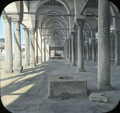 """<em>""""Views, Objects: Egypt. General Views; People. View 043: Egypt - Mosque of Amr, Well of Mecca Water, Old Cairo.""""</em>. Lantern slide 3.25x4in, 3.25 x 4 in. Brooklyn Museum, lantern slides. (Photo: T. H. McAllister, New York, S10_08_Egypt_GeneralViews_People043.jpg"""