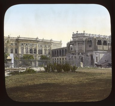 "<em>""Views, Objects: Egypt. General Views; People. View 045: Egypt - Gizeh Museum, North Front.""</em>. Lantern slide 3.25x4in, 3.25 x 4 in. Brooklyn Museum, lantern slides. (S10_08_Egypt_GeneralViews_People045_SL1.jpg"