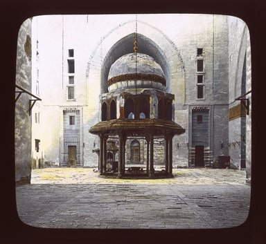 "<em>""Views, Objects: Egypt. General Views; People. View 047: Egypt - Mosque of Sultan Hasan, Ablution Fountains, Cairo.""</em>. Lantern slide 3.25x4in, 3.25 x 4 in. Brooklyn Museum, lantern slides. (S10_08_Egypt_GeneralViews_People047_SL1.jpg"