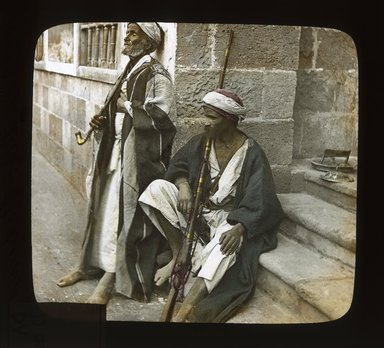 "<em>""Views, Objects: Egypt. General Views; People. View 050: Egypt - Bedouins, Alexandria.""</em>. Lantern slide 3.25x4in, 3.25 x 4 in. Brooklyn Museum, lantern slides. (S10_08_Egypt_GeneralViews_People050_SL1.jpg"