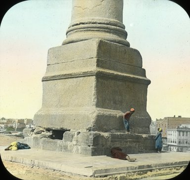 "<em>""Views, Objects: Egypt. General Views; People. View 052: Egypt - Base of Pompey's Pillar, Alexandria.""</em>. Lantern slide 3.25x4in, 3.25 x 4 in. Brooklyn Museum, lantern slides. (Photo: T. H. McAllister, New York, S10_08_Egypt_GeneralViews_People052.jpg"
