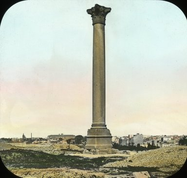 "<em>""Views, Objects: Egypt. General Views; People. View 053: Egypt - Pompey's Pillar, Alexandria.""</em>. Lantern slide 3.25x4in, 3.25 x 4 in. Brooklyn Museum, lantern slides. (S10_08_Egypt_GeneralViews_People053.jpg"