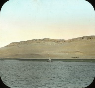 "<em>""Views, Objects: Egypt. General Views; People. View 056: Egypt - The Nile, near Assiut, showing rocky shores.""</em>. Lantern slide 3.25x4in, 3.25 x 4 in. Brooklyn Museum, lantern slides. (Photo: T. H. McAllister, New York, S10_08_Egypt_GeneralViews_People056.jpg"