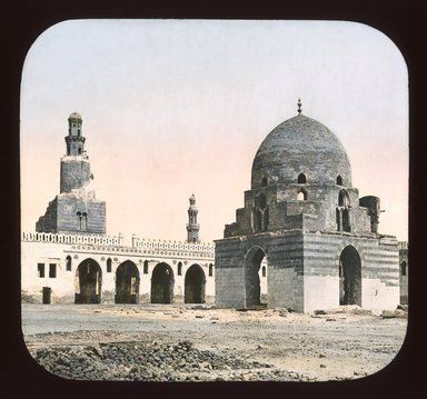 "<em>""Views, Objects: Egypt. General Views; People. View 058: Egypt - Mosque of Tulun, Exterior, Cairo.""</em>. Lantern slide 3.25x4in, 3.25 x 4 in. Brooklyn Museum, lantern slides. (Photo: T. H. McAllister, New York, S10_08_Egypt_GeneralViews_People058_SL1.jpg"