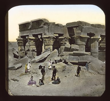 """<em>""""Views, Objects: Egypt. General Views; People. View 073: Egypt - Temple half-buried in sand.""""</em>. Lantern slide 3.25x4in, 3.25 x 4 in. Brooklyn Museum, lantern slides. (S10_08_Egypt_GeneralViews_People073_SL1.jpg"""