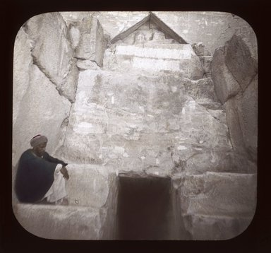 """<em>""""Views, Objects: Egypt. General Views; People. View 074: Entrance to Pyramid of Cheops.""""</em>. Lantern slide 3.25x4in, 3.25 x 4 in. Brooklyn Museum, lantern slides. (S10_08_Egypt_GeneralViews_People074_SL1.jpg"""