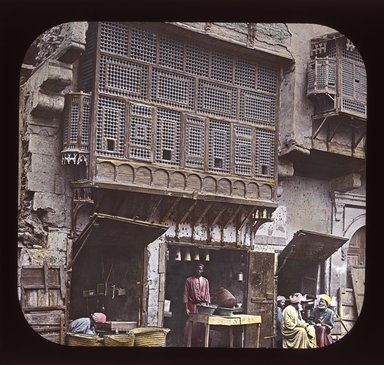 "<em>""Views, Objects: Egypt. General Views; People. View 078: Egypt - Arabic Window and Native Bazaar, Cairo.""</em>. Lantern slide 3.25x4in, 3.25 x 4 in. Brooklyn Museum, lantern slides. (Photo: T. H. McAllister, New York, S10_08_Egypt_GeneralViews_People078_SL1.jpg"